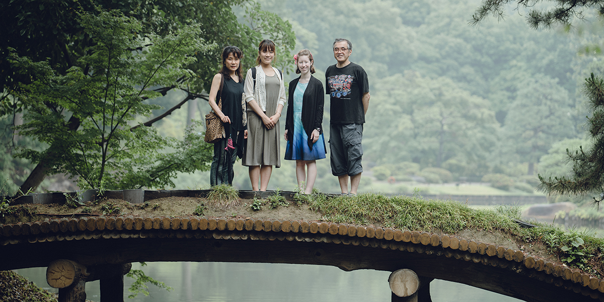 Samantha with Japanese host family